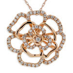 Rose Gold Diamond Floral Pendant 14K