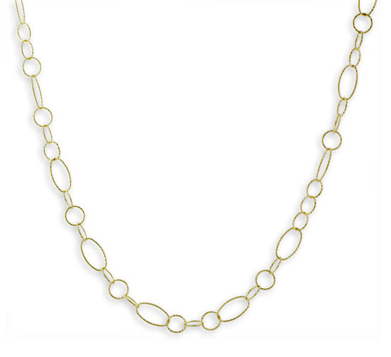 Diamond Cut Link Chain, 18K over Sterling Silver