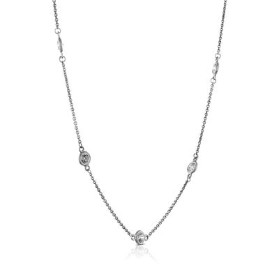"Diamond Station Necklace, 18"" 14K"