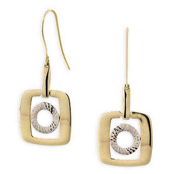 Dangle Square Earrings 14K