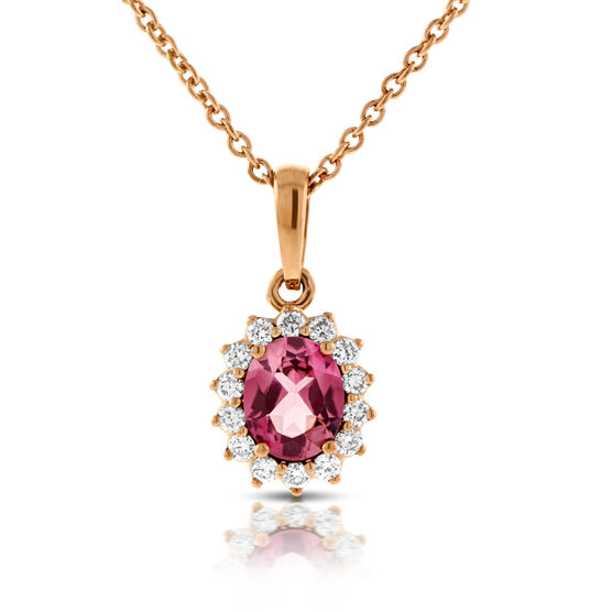 Rose Gold Tourmaline & Diamond Halo Pendant 14K