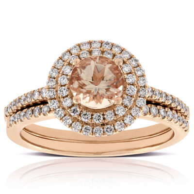rose gold morganite diamond bridal set - Yellow Diamond Wedding Rings