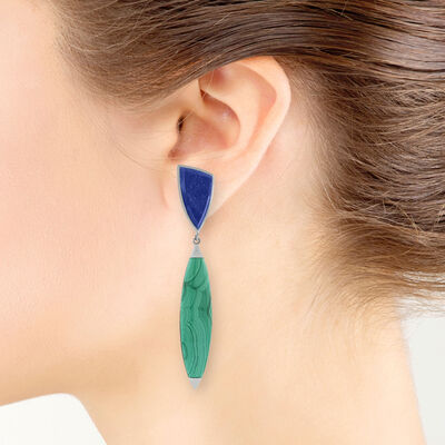 Lisa Bridge Malachite & Lapis Earrings