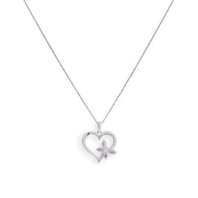 Sapphire & Diamond Heart Pendant 14K