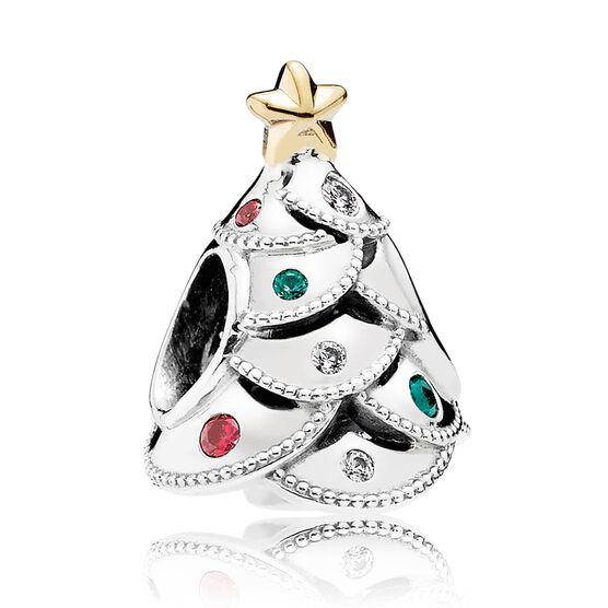 PANDORA Festive Tree Charm, Multi-Colored CZ, Silver & 14K