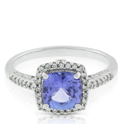 Tanzanite & Diamond Cushion Halo Ring 14K