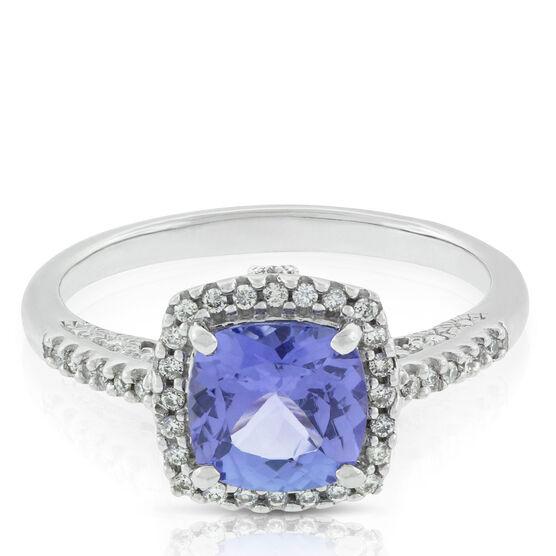 Tanzanite & Diamond Cushion Halo Ring 14K