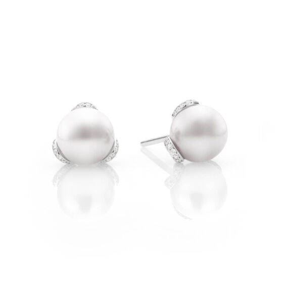 Mikimoto Akoya Cultured Pearl & Diamond Earrings, 8mm, 18K