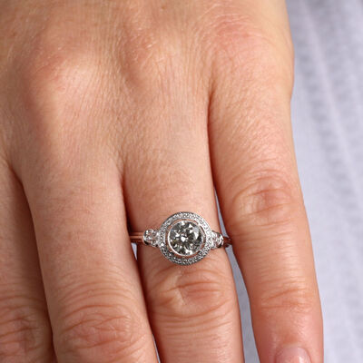 Bezel Halo Diamond Engagement Ring 14K