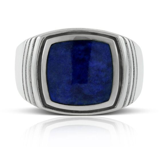 Men's Lapis Ring in Sterling Silver