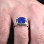 Men's Lapis Ring in Sterling Silver