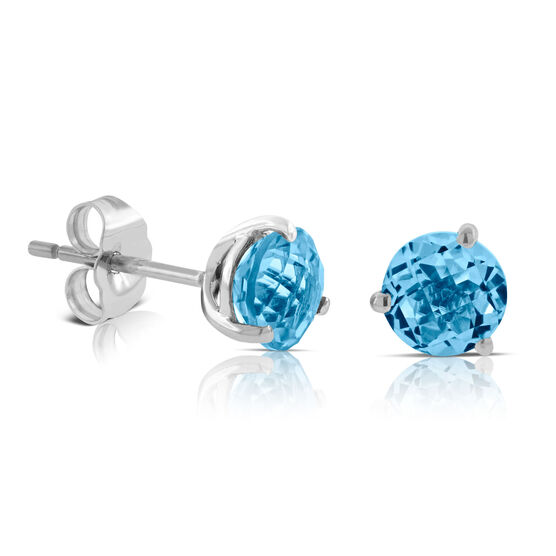 Blue Topaz Earrings 14K