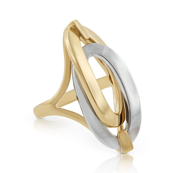 Toscano Double Link Oval Ring 18K