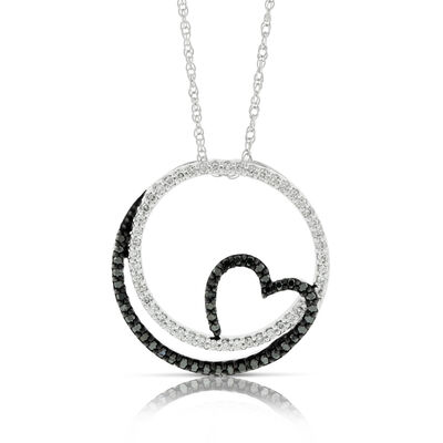 April birthday ideas diamond birthstone ben bridge jeweler circle heart black white diamond pendant aloadofball Choice Image