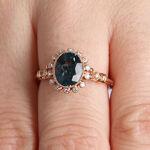 Rose Gold Blue Topaz & Diamond Halo Ring 14K