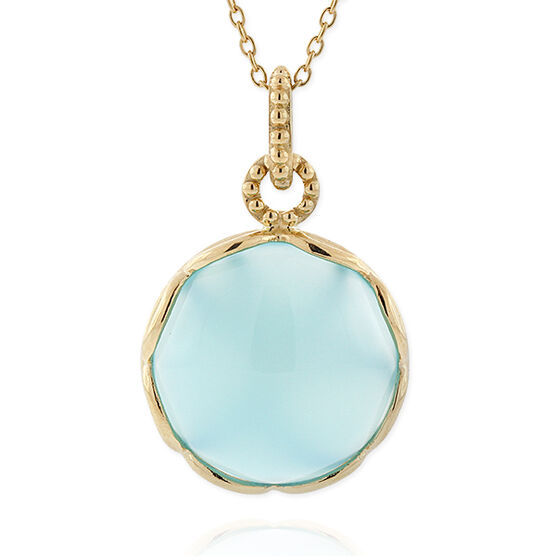 Lisa Bridge Blue Chalcedony Porthole Pendant 14K
