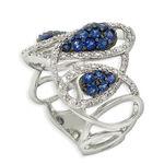 Sapphire & Diamond Teardrop Ring 14K