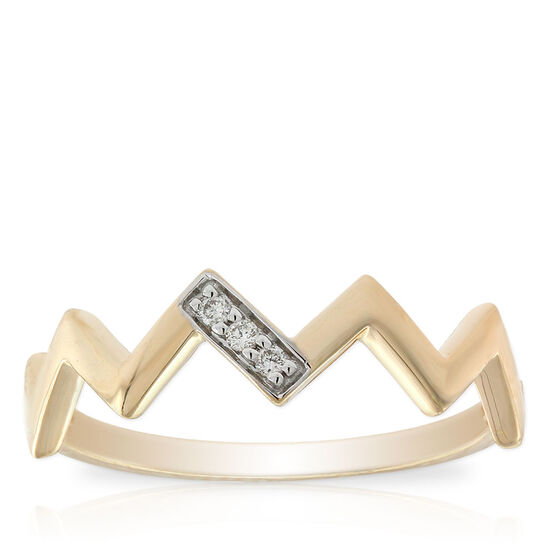 Diamond Zig Zag Midi Ring 14K