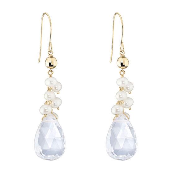 Quartz & Freshwater Cultured Pearl Earrings 14K