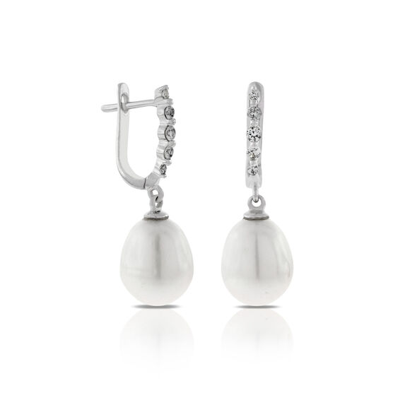 Freshwater Cultured Pearl & White Sapphire Earrings 14K