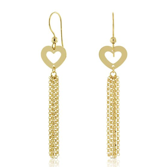 Heart & Chain Earrings 14K