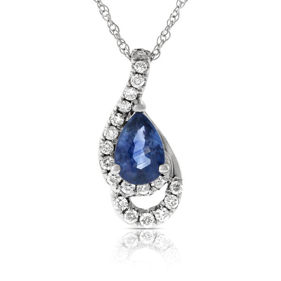 Pear Sapphire & Diamond Pendant 14K