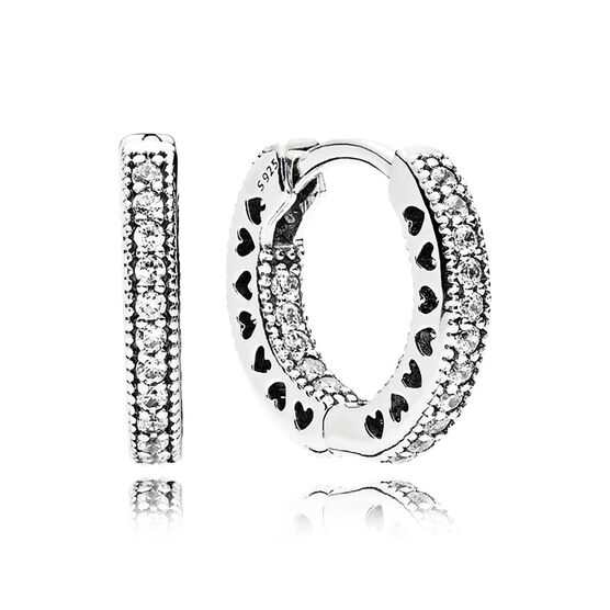 PANDORA Hearts of PANDORA CZ Hoop Earrings 15 MM