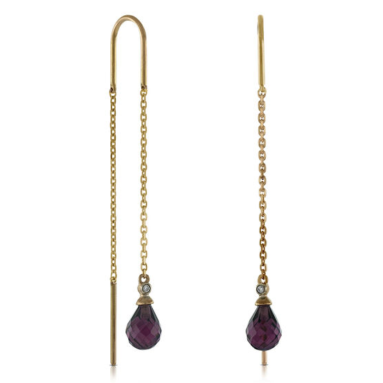 Garnet & Diamond Drop Earrings 14K Rose