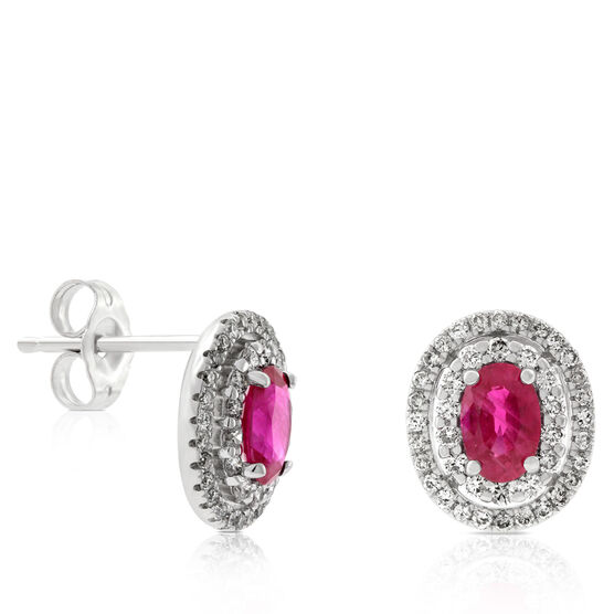 Ruby & Diamond Double Halo Earrings 14K