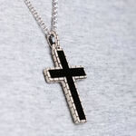 Onyx Men's Cross Necklace in Sterling Silver