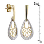 Pear Shaped Filigree Earrings 14K
