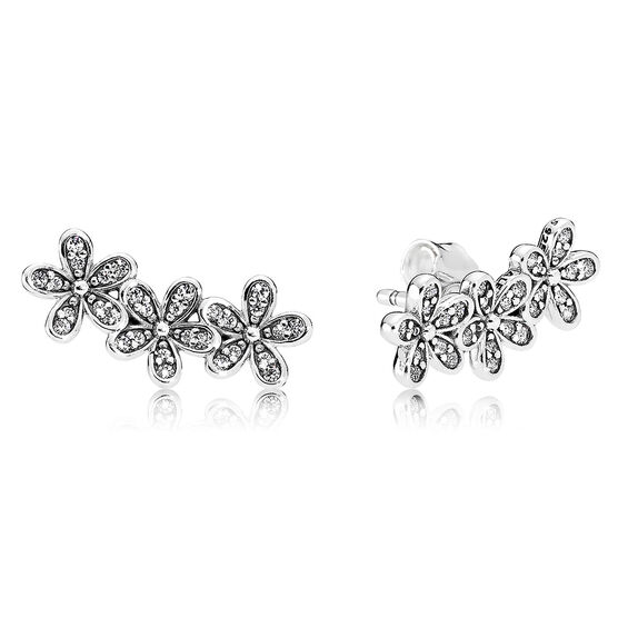PANDORA Dazzling Daisies CZ Climber Earrings