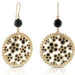 Toscano Onyx & Black Enamel Dangle Earrings 14K
