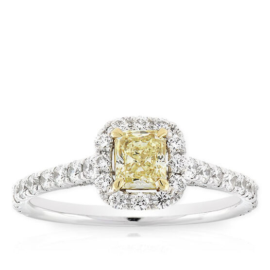 Radiant Cut Yellow Diamond Halo Ring .49 Ct.