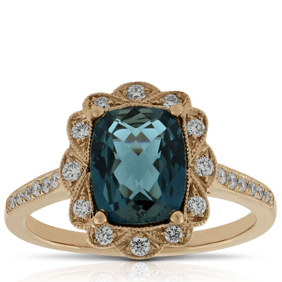 London Blue Topaz & Diamond Ring 14K Rose