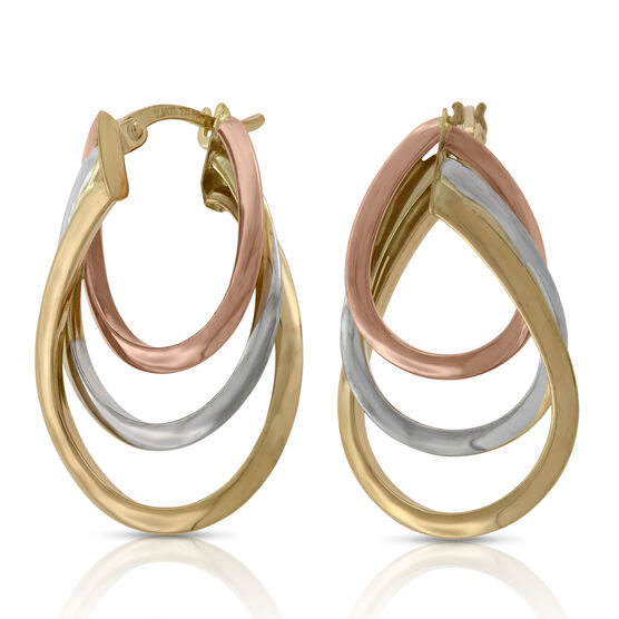 Toscano Tri-Color Graduated Hoop Earrings 14K