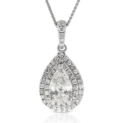Pear Shaped Diamond Pendant 14K