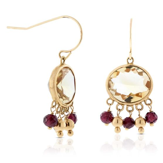 Citrine & Garnet Earrings 14K