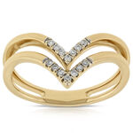 Double Chevron Diamond Ring 14K