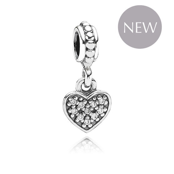 PANDORA Clear Pave Heart Charm