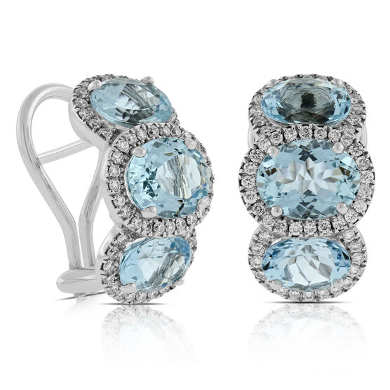 Aquamarine & Diamond Hoop Earrings 14K