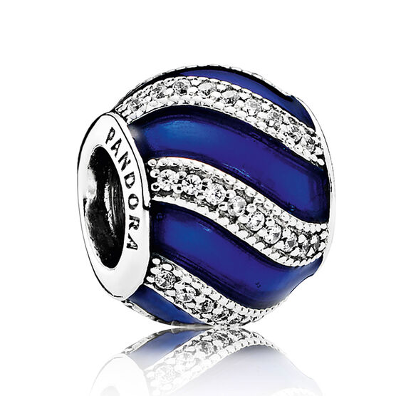 PANDORA Adornment Charm, Royal-Blue Enamel &  Clear CZ