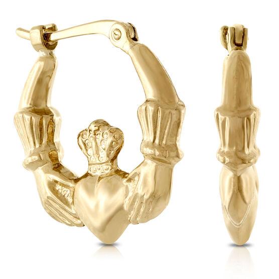 Claddagh Hoop Earrings 14K