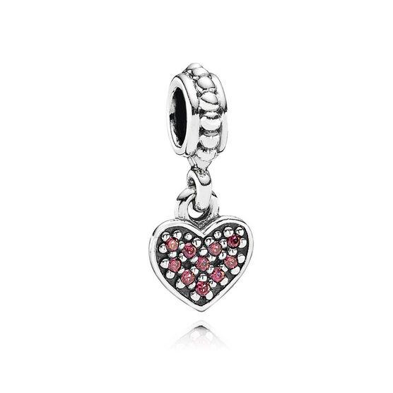 PANDORA Red Pave Heart Dangle Charm
