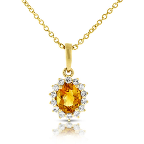 Citrine & Diamond Halo Pendant 14K