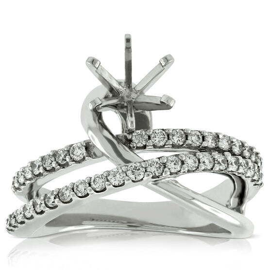 Crossover Semi-Mount Diamond Ring 14K