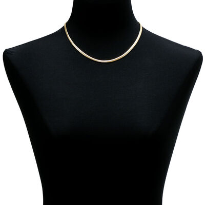Toscano Reversible Herringbone Necklace 14K