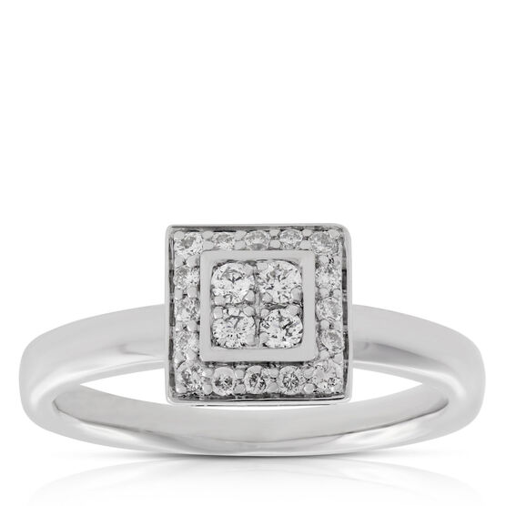 Diamond Square Ring 14K