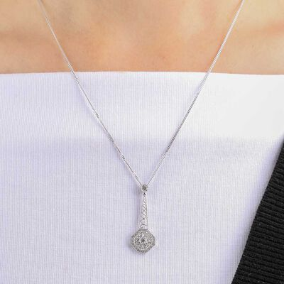 Diamond Octagon Pendant 14K