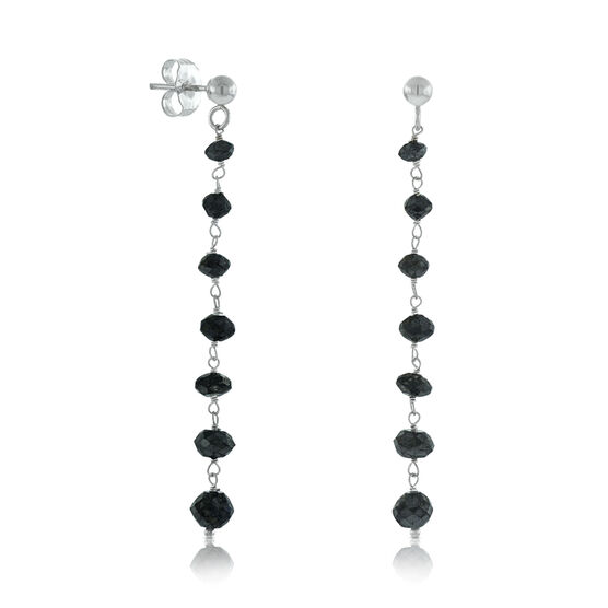Black Diamond Dangle Earrings 14K